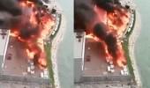 بالفيديو والصور.. اندلاع حريق هائل في خيمة رمضانية بكورنيش الخبر