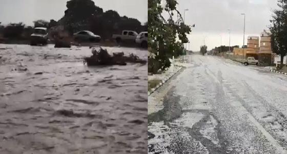 بالفيديو.. أمطار وبرد وسيول تكتنف أجواء عسير والباحة