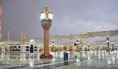 بالفيديو.. هطول امطار شمال المدينة ليلة ختم القرآن
