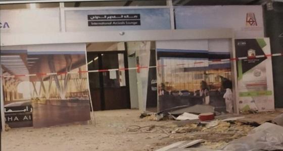بالصور.. استهداف مطارأبها من قبل الميليشيات الإيرانية الحوثية اليوم