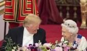 بالصور.. مأدبة رسمية ولحظات ودودة تجمع ترامب والملكة إليزابيث