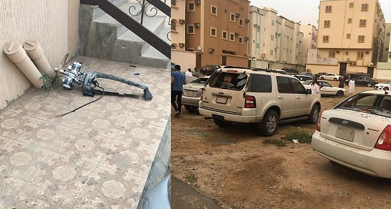 الدفاع المدني: سقوط شظايا طائرة بدون طيار معادية بمبنى سكني في خميس مشيط