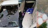 """"""" برد عملاقة """" تتسبب في تهشيم زجاج السيارات وقتل عددًا من المواشي بمحايل"""