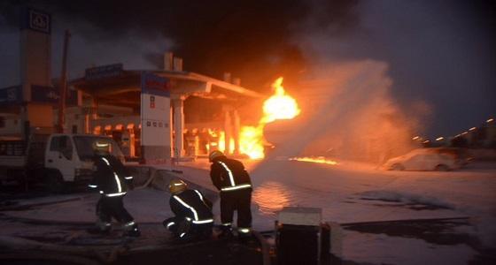 إخماد حريق هائل في محطة وقود بالمروج وتضرر عدد من المركبات