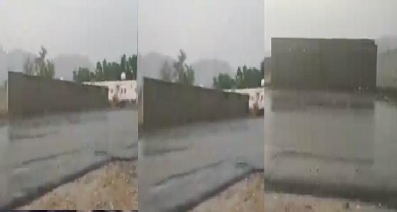بالفيديو.. أمطار غزيرة وسيول شرق محايل عسير