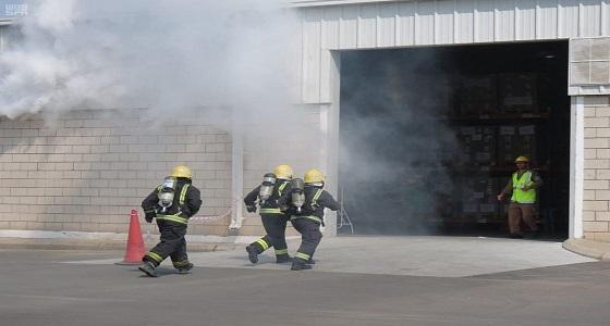 مدني مكة ينفذ تجربة فرضية للإطفاء والإنقاذ بشركة الاتصالات