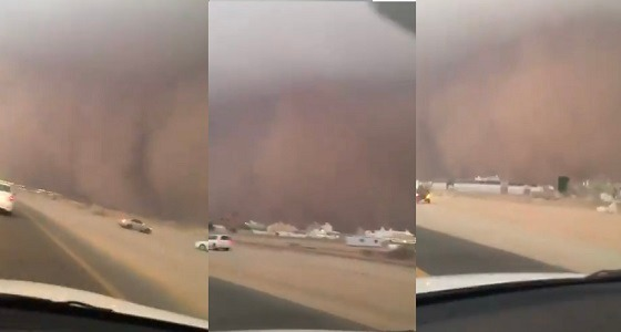 بالفيديو.. لحظة اقتراب العاصفة الرملية الجدارية من جدة