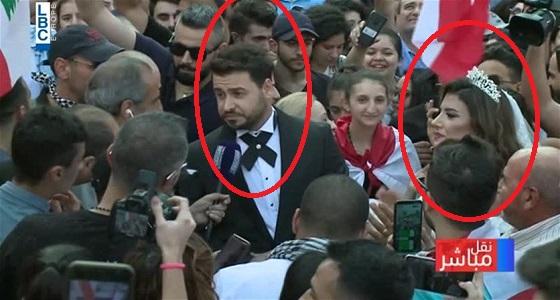 ثنائي لبناني يحتفل بزفافه وسط المتظاهرين