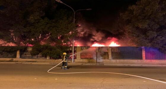 اندلاع حريق بحديقة في حي المطار بـ «عنيزة»
