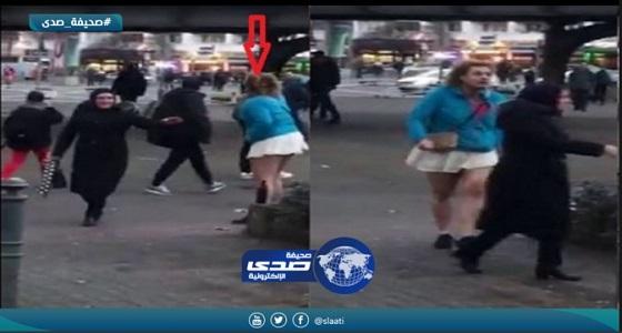 بالفيديو.. متشبه بالنساء يهاجم فتاة محجبة أمام المارة