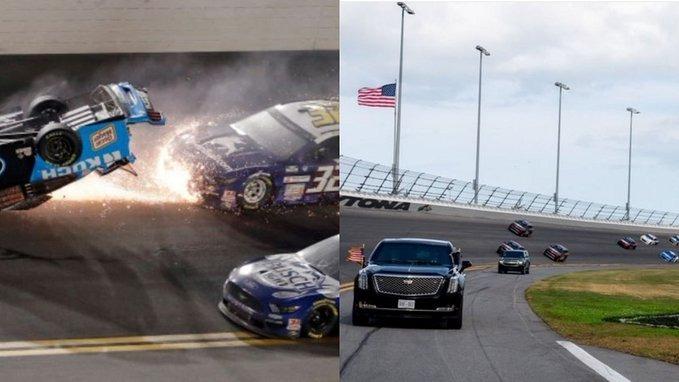 """شاهد.. اشتعال النيران في سيارة راين نيومان خلال سباق """"دايتونا 500"""""""