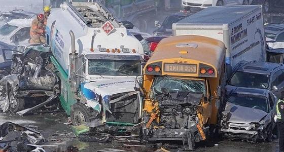 بالصور.. «تصادم جماعي» لـ 200 مركبة يسفر عن وفاة العشرات