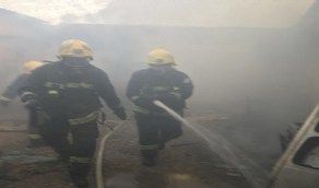 بالصور.. إصابة امرأة و5 أطفال في حريق ببيشة