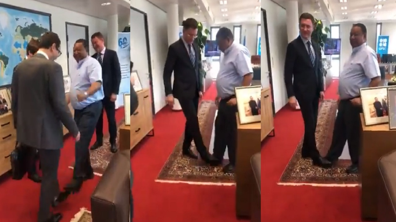 شاهد.. تصافح بالأقدام بين الأمين العام لـ أوبك ومسؤولين روس خوفًا من كورونا