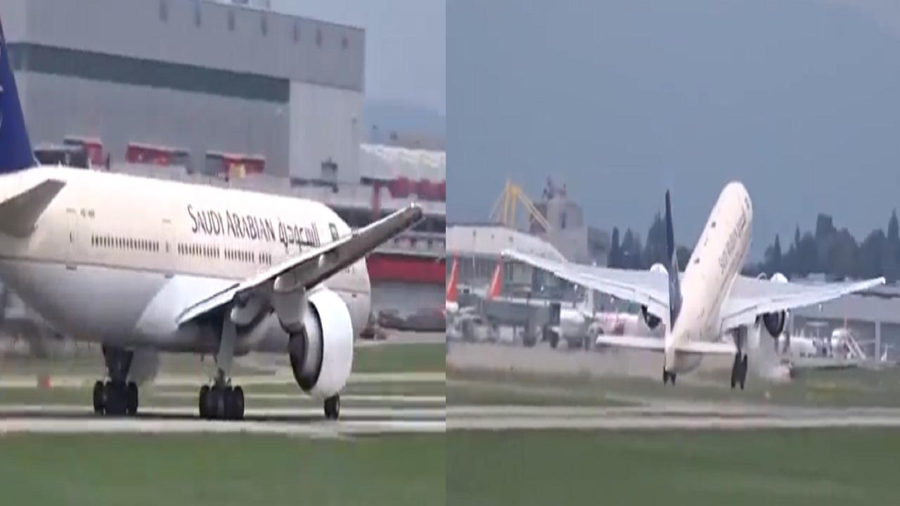 لحظة إقلاع طائرة الخطوط السعودية من مطار جنيف بالتزامن مع تعليق الرحلات (فيديو)
