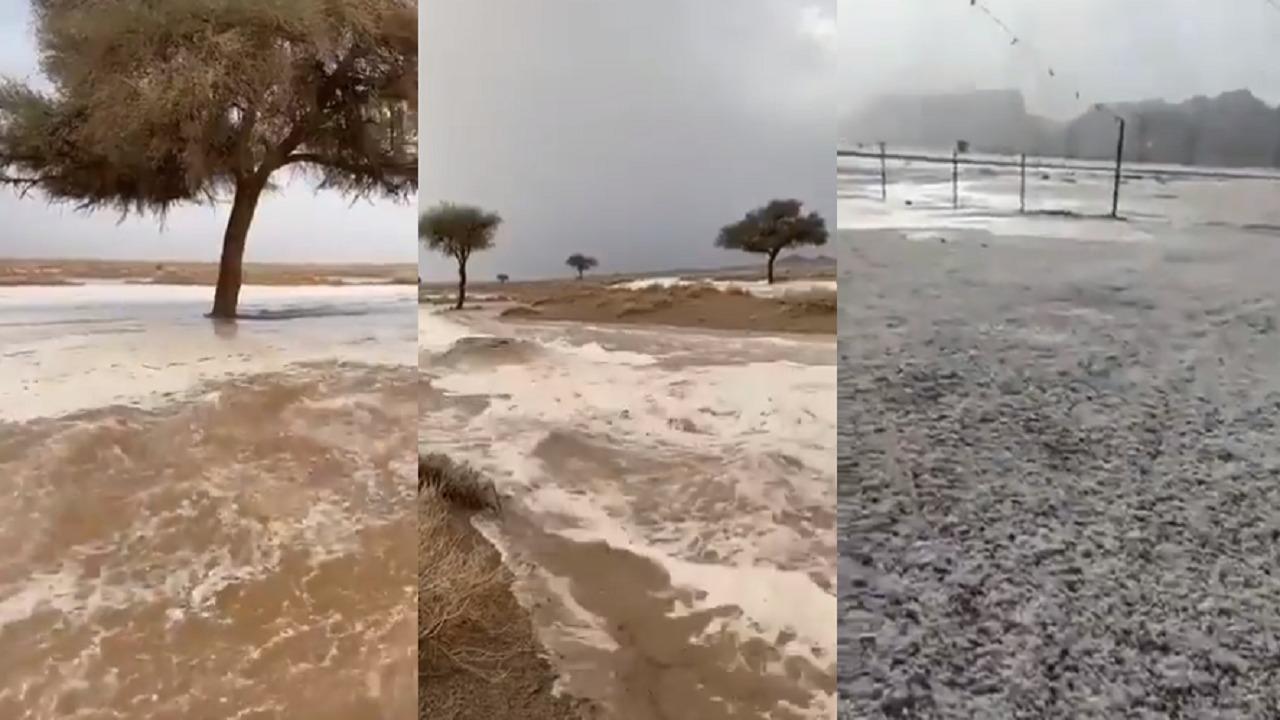 بالفيديو.. جريان السيول وهطول البرد بالقصيم