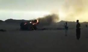 شاهد.. إحراق مدرعة حوثية في الجوف اليمنية