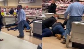 بالفيديو .. متسوقون ينقضون على مسن في محل بقالة