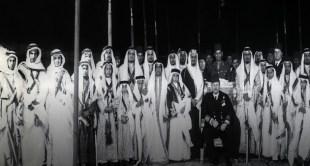 صورة نادرة لأبناء الملك عبدالعزيز مع الملك فاروق في ينبع