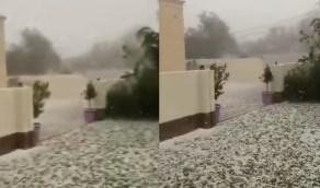 بالفيديو.. هطول الأمطار الغزيرة والبرد على محايل عسير