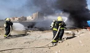 اندلاع حريق بمحطة وقود تحت الصيانة والتجديد في رابغ (صور)