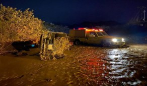 إنقاذ شخصين ووفاة ثالث بعد جرف مركبتهم في الباحة