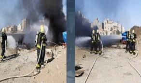 إصابة شخص في حريق خزانيْن وقود برابغ