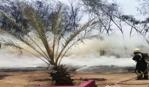 بالصور.. إصابة شخص في حريق استراحة ببيش