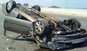 إصابة شخص في حادث انقلاب مركبة على طريق الساحل