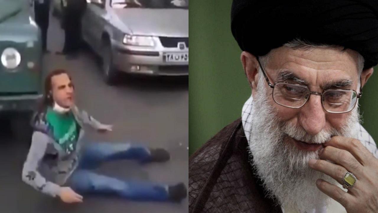 """بالفيديو..إيراني يحاول الانتحار إلى خامنئي: """" تنهبون البلاد منذ 40 عاما """""""