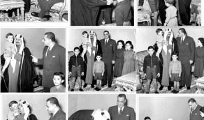 شاهد.. الملك سعود في لحظات حنونة ومرحة مع أطفال جمال عبدالناصر