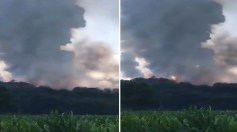 شاهد.. نيران وأدخنة ومفرقعات جراء انفجار مصنع للألعاب النارية