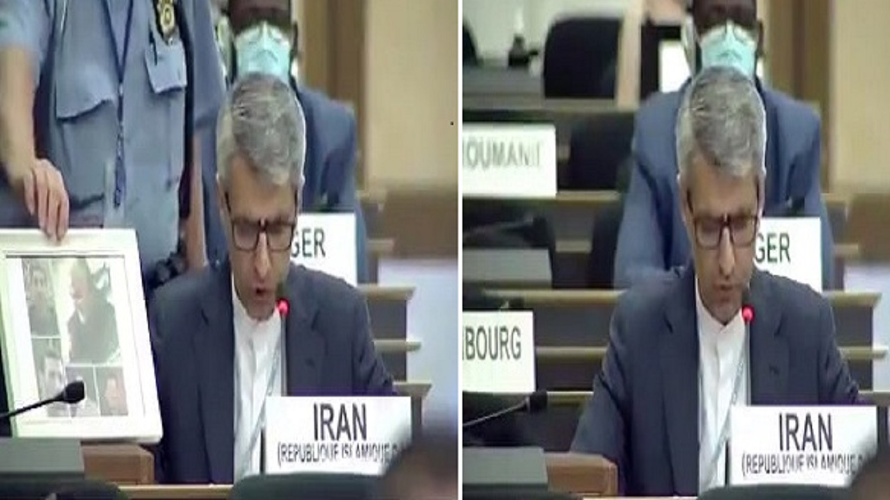 بالفيديو.. موقف محرج لسفير طهران بعد إزالة صورة «سليماني» بالأمم المتحدة