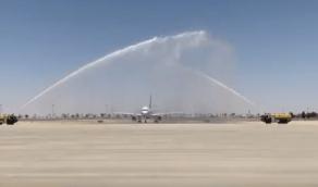 بالفيديو.. وصول أول رحلة من الرياض إلى مطار رفحاء