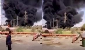 شاهد.. انفجار عنيف في محطة للطاقة غرب إيران