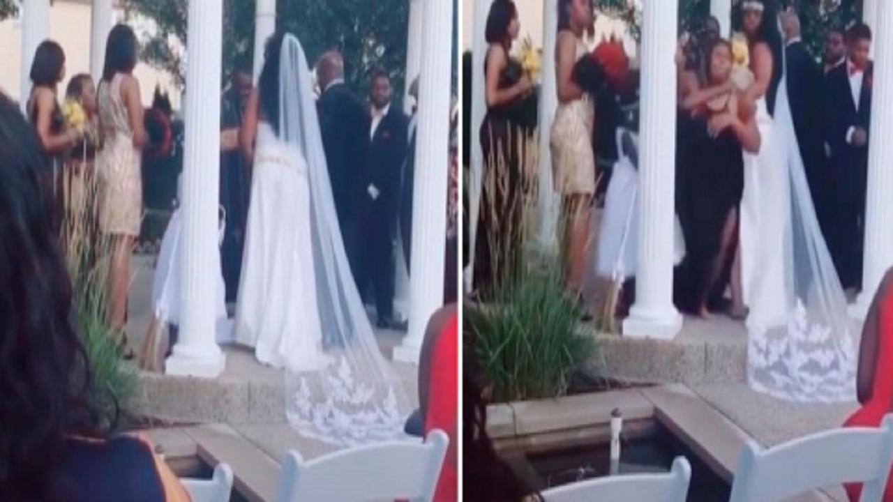شاهد .. امرأة حامل تقتحم حفل زفاف وتصرخ في وجه العريس : «أنت والد طفلي»