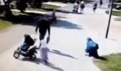 بالفيديو.. اعتداء وحشي على امرأة مسلمة أمام أطفالها