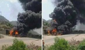 حريق كبير في محطة وقود لمديرية مقبنة الخاضعة لسيطرة الحوثيين