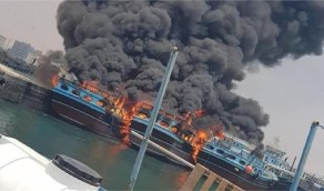 "اندلاع حريق في ميناء ""بوشهر"" بإيران والتهام 3 سفن"
