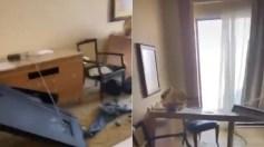 بالفيديو.. خليجي يوثق الدمار الذي لحق بغرفته عقب انفجار لبنان