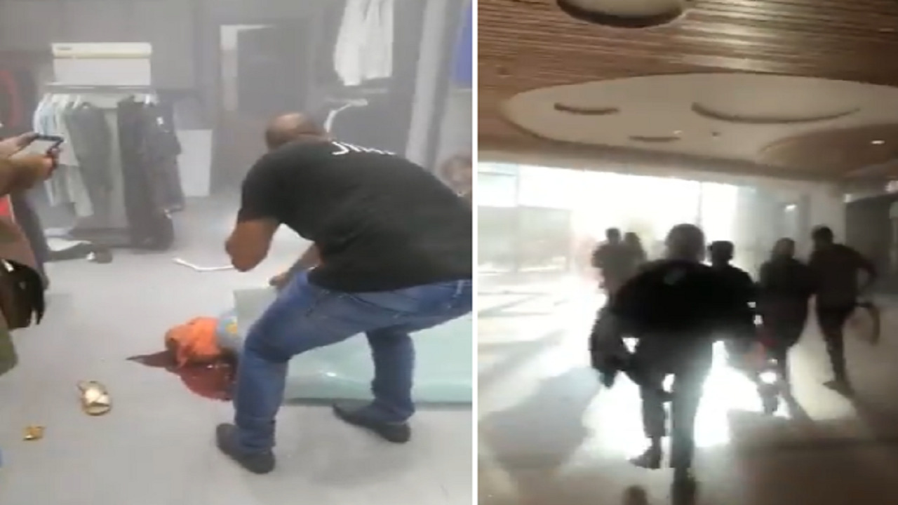 بالفيديو.. هلع ومشاهد مفزعة لمتسوقين في محلات تدمرت جراء انفجار بيروت