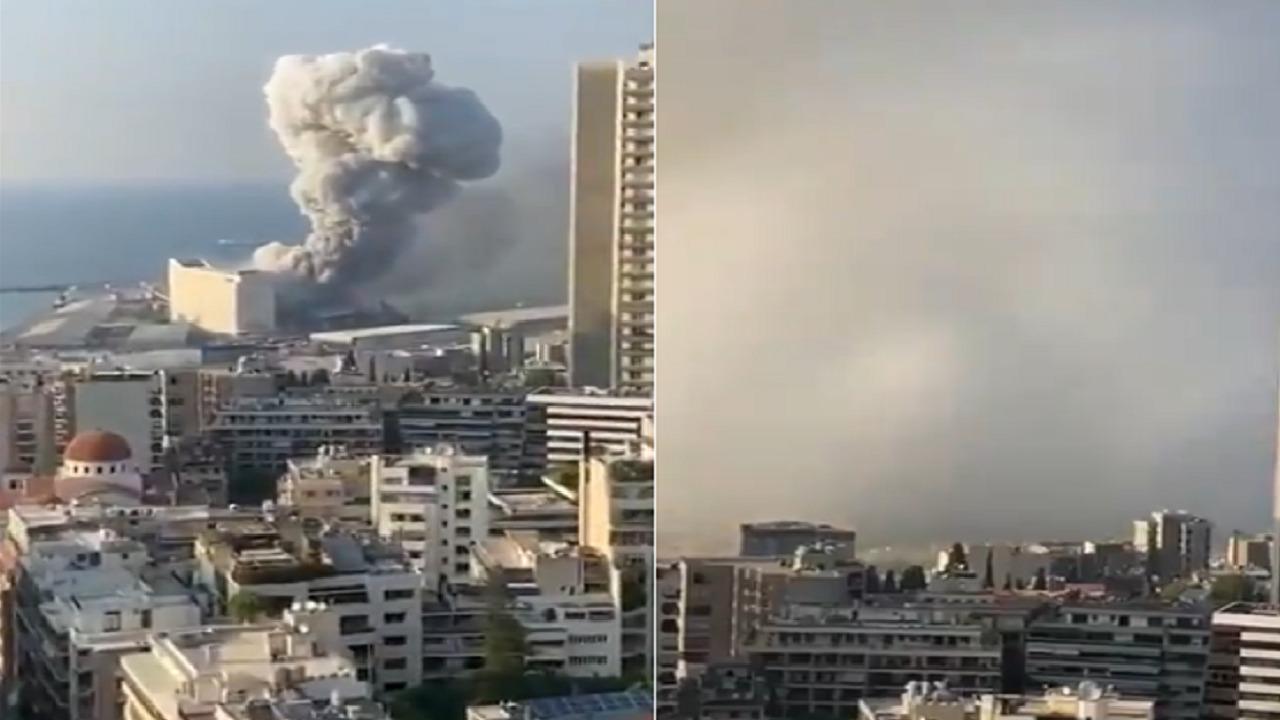 شاهد .. انفجار بيروت يقتلع مبنى بالكامل من مكانه