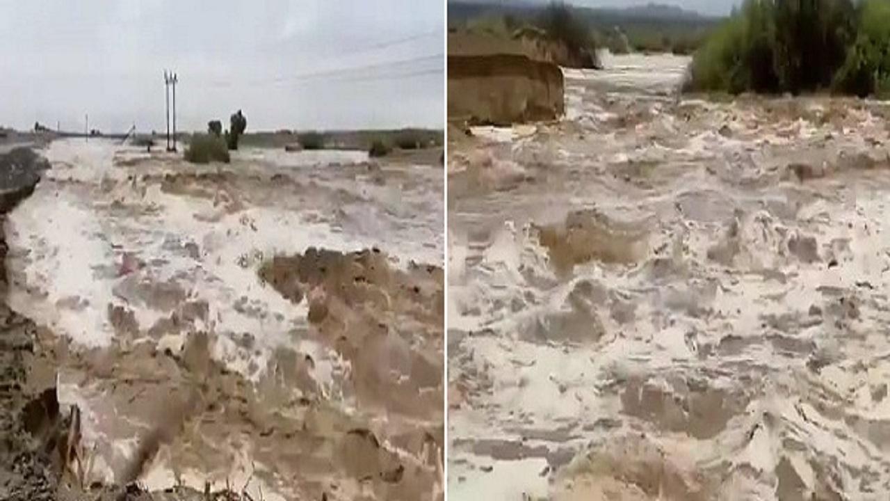 بالفيديو.. السيول الجارفة تسقط أعمدة الكهرباء على الطريق الدولي جنوب حلي
