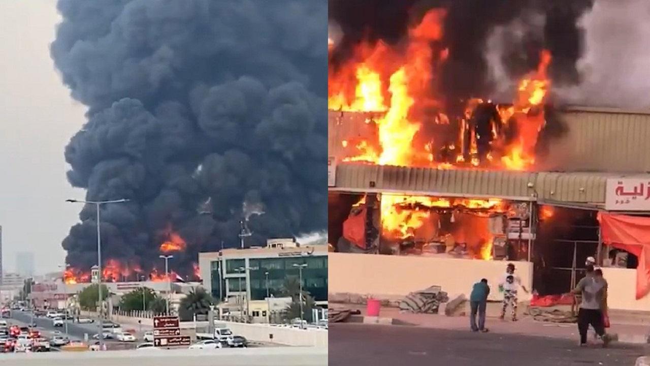 بالفيديو.. حريق هائل يلتهم سوقًا شعبيًا في الإمارات