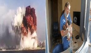مشهد بطولي لممرضة تحمل 3 توائم لحظة انفجار بيروت