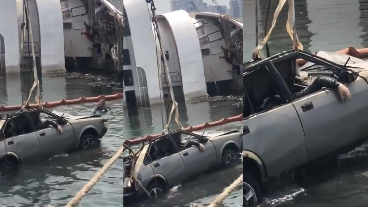 بالفيديو.. لحظة انتشال جثة داخل سيارة غرقت في انفجار مرفأ بيروت