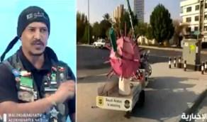 بالفيديو.. رحالة يصنع مجسم كورونا ويجوب به شوارع نجران والرياض