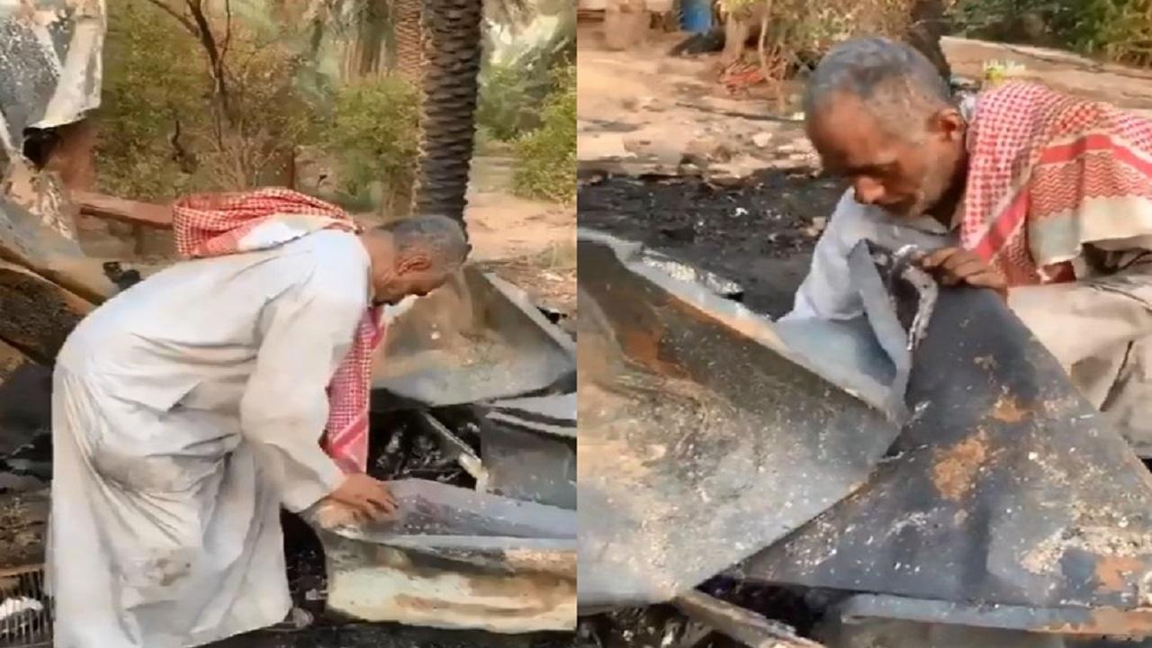 بالفيديو.. مزارع يثير دهشة الجميع بعد احتراق مزرعته بالأحساء برد فعل غير متوقع