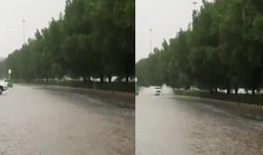 بالفيديو .. أمطار غزيرة على حي العزيزية بمكة المكرمة