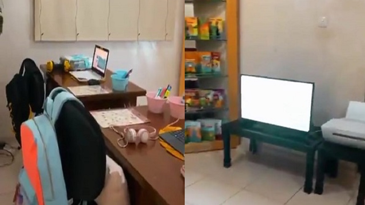 بالفيديو.. مواطنة تجهز فصل مدرسي لأبنائها بالمنزل استعداداً للدراسة عن بعد